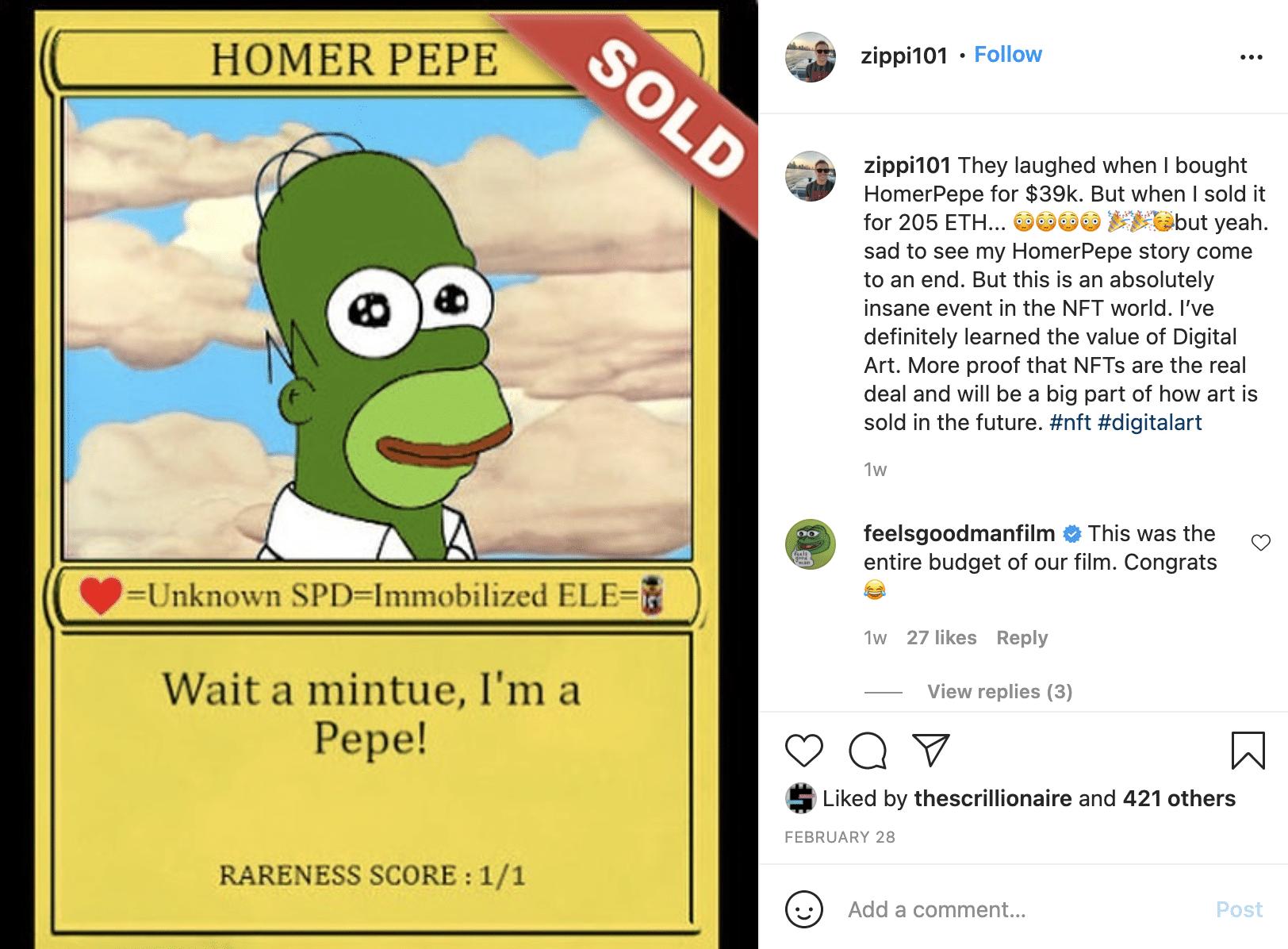Homer Pepe crypto art