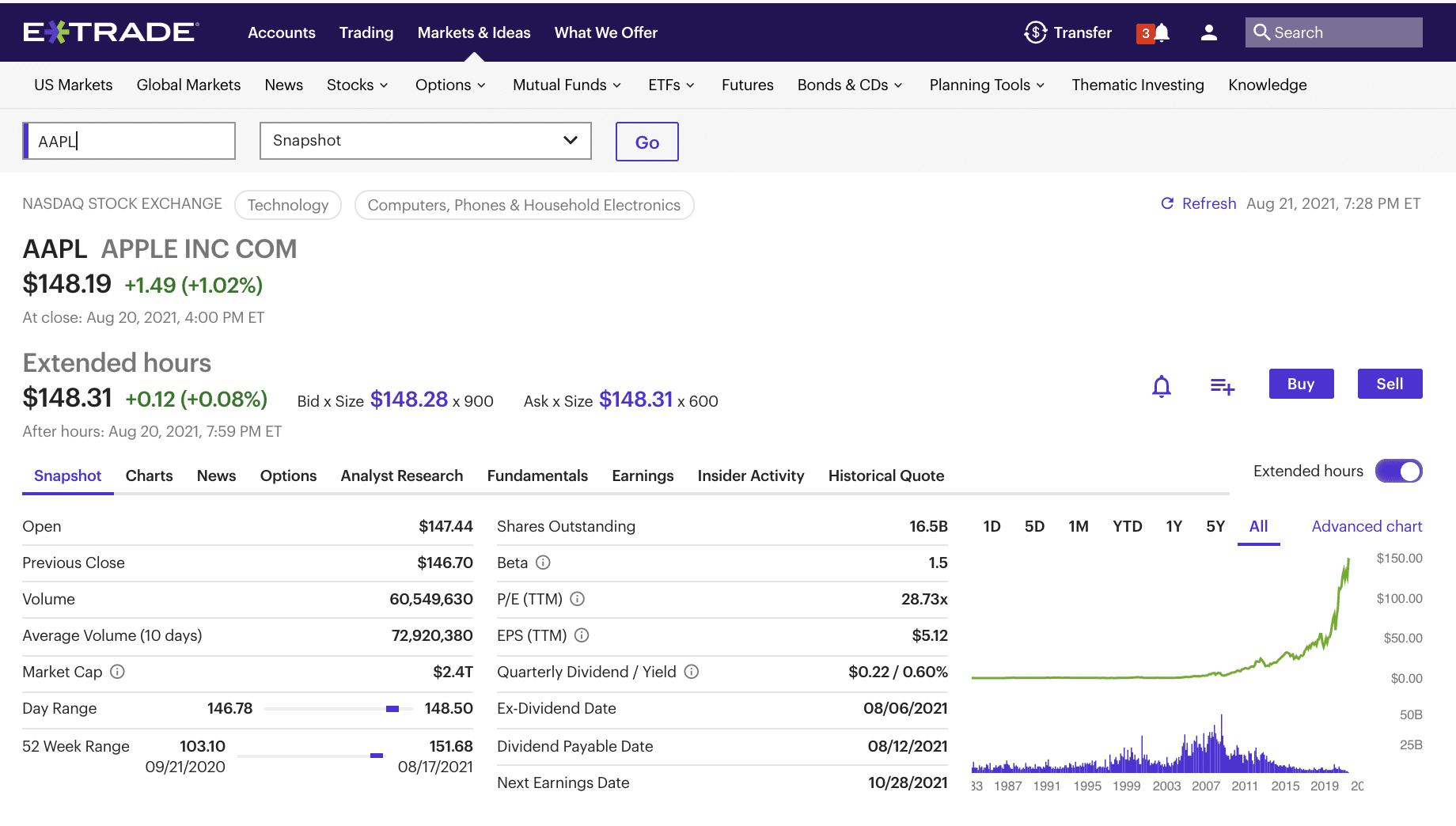 E*TRADE brokerage dashboard